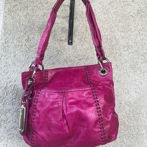 B.Makowsky Magenta Leather Hobo Bag